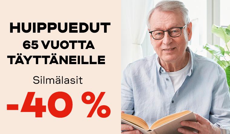 60 vuotta täyttäneille silmälasit -40%