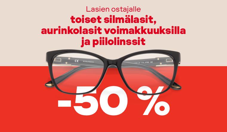 Lasien ostajalle toiset silmälasit, aurinkolasit voimakkuuksilla ja piilolinssit -50 %