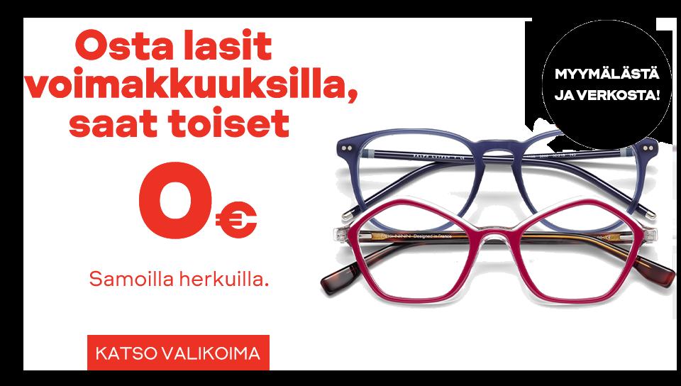 Osta silmälasit, saat toiset lasit kaupan päälle