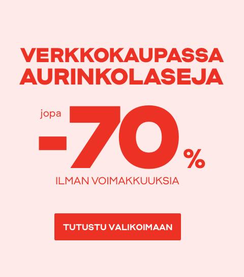 Verkkokaupassa aurinkolaseja jopa -70%