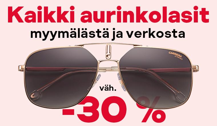 Kaikki aurinkolasit vähintään -30 %