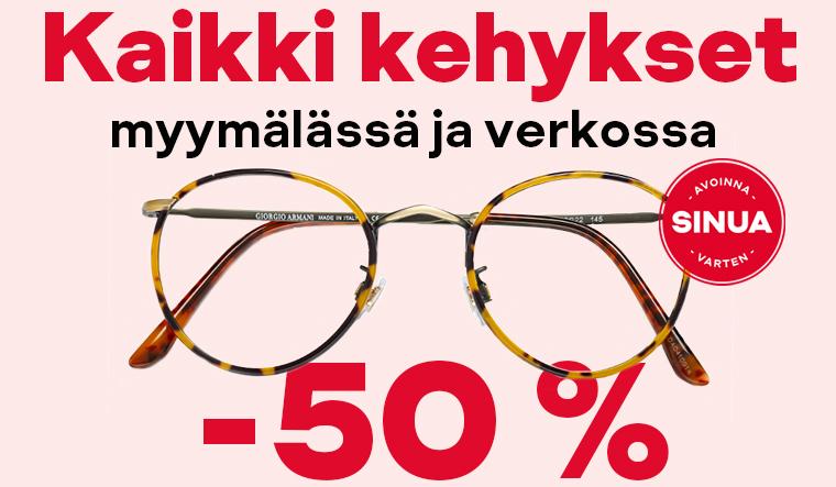 Silmälasien ostajalle kehykset - 50 %
