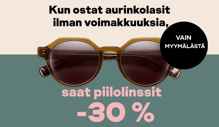 Osta aurinkolasit ilman voikakkuuksia, saat piilolinssit -30 %