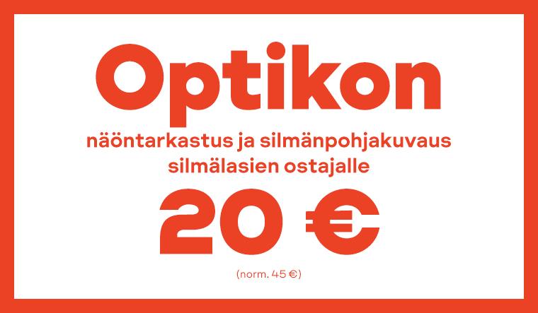 Silmälasien ostajalle optikon näöntarkastus ja silmäpohjakuvaus 20 €