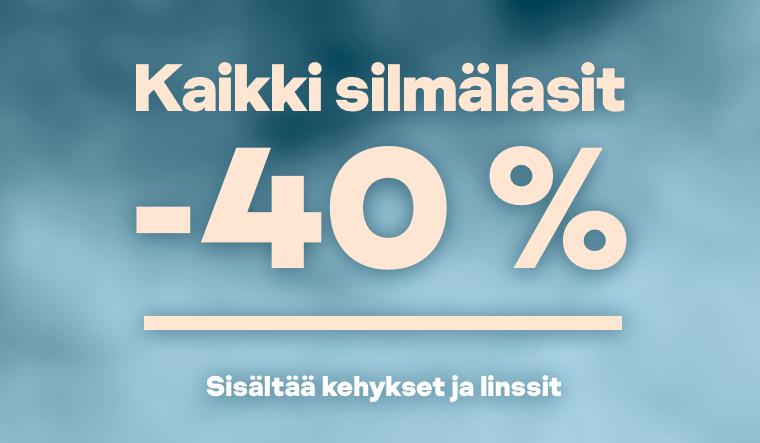 Kaikki silmälasit -40 % sisältää kehykset ja linssit