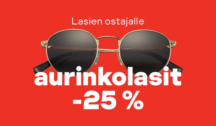 Lasien ostajalle aurinkolasit -25 %