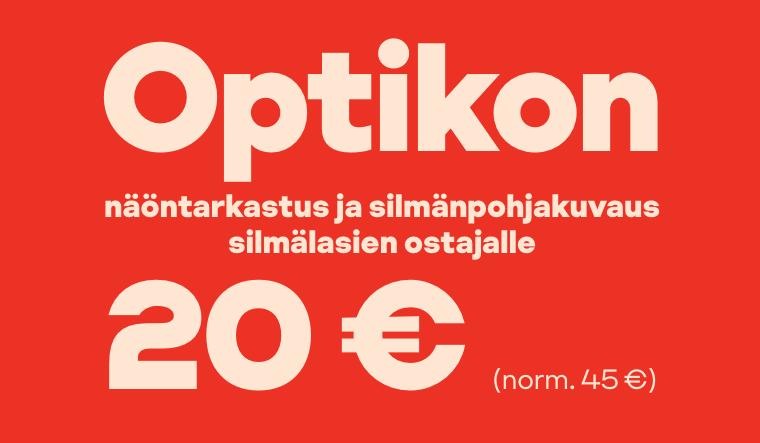 Optikon näöntarkastus ja silmänpohjakuvaus 20 € (norm. 45 €) silmälasien ostajalle