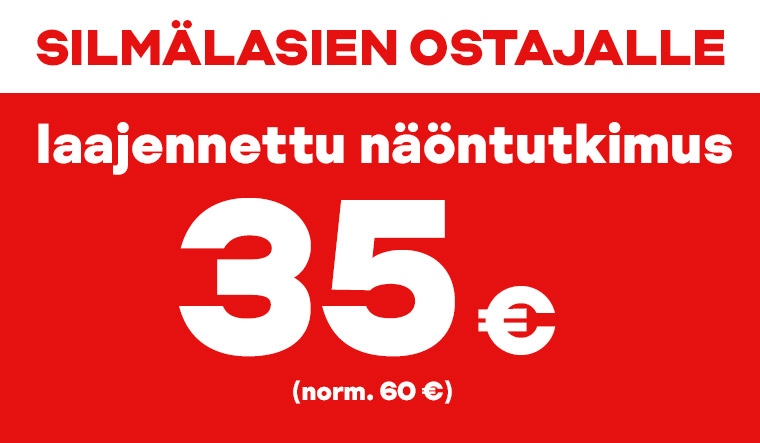 Silmälasien ostajalle laajennettu näöntutkimus 35 €