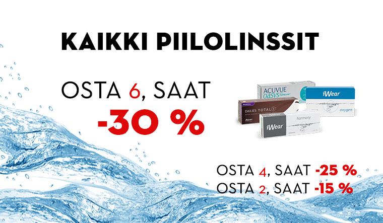 Piilolinssien prosenttiporrasale -15 % -25% -30 %